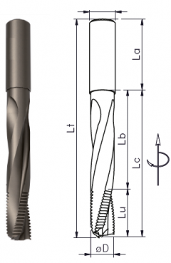 ECM - Solid carbide lock-housing spiral router cutter